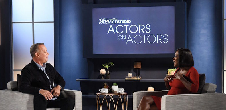 Mandatory Credit: Photo by Buckner/Variety/REX/Shutterstock (7431459x) Tom Hanks and Viola Davis Variety Studio: Actors on Actors, Los Angeles, USA - 12 Nov 2016